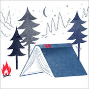 Illustration: Camp scene with book as tent.