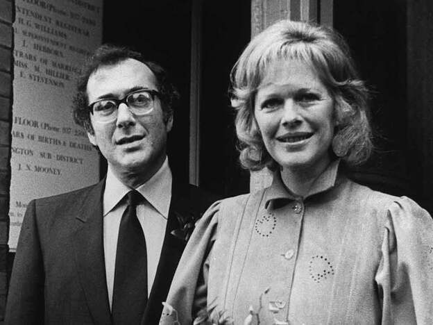 "Antonia Fraser and Harold Pinter, photographed in November 1980. Tina Brown calls Fraser's memoir, <em>Must You Go?</em>, which chronicles the author's 33-year love affair with Pinter, ""intimate without being confessional."""
