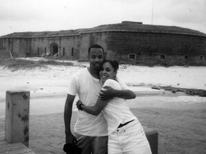 Natasha and Joe in front of Fort Massachussets, Ship Island, Mississippi, circa 1999
