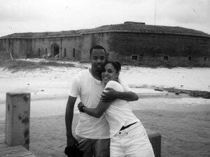 Natasha and Joe in front of Fort Massachussets, Ship Island, Mississippi, circa 1999