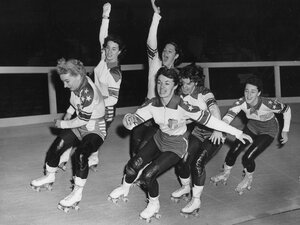 Members of the U.S. roller skating team practice together in May 1953.