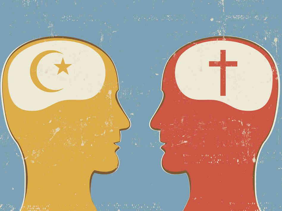 Illustration of Christian and Islam symbols inside human heads