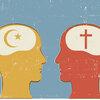 Illustration of Christian and Islam symbols inside human heads