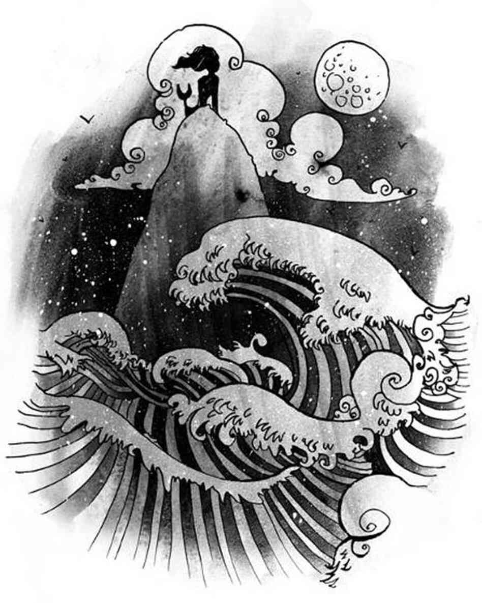 A mermaid whose depiction is inspired by Japanese woodblock prints.