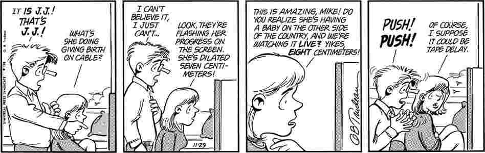 Alex Doonesbury is born live on cable TV.