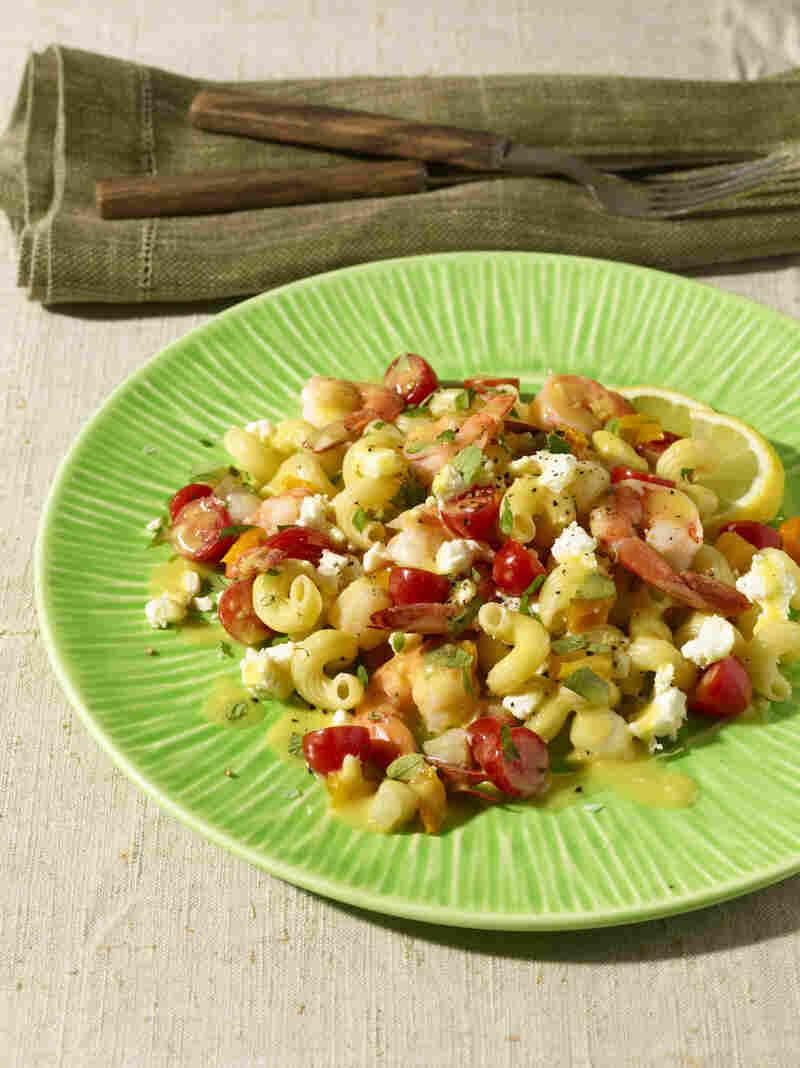Lemony Seafood Pasta Salad With Tomatoes, Feta, And Oregano