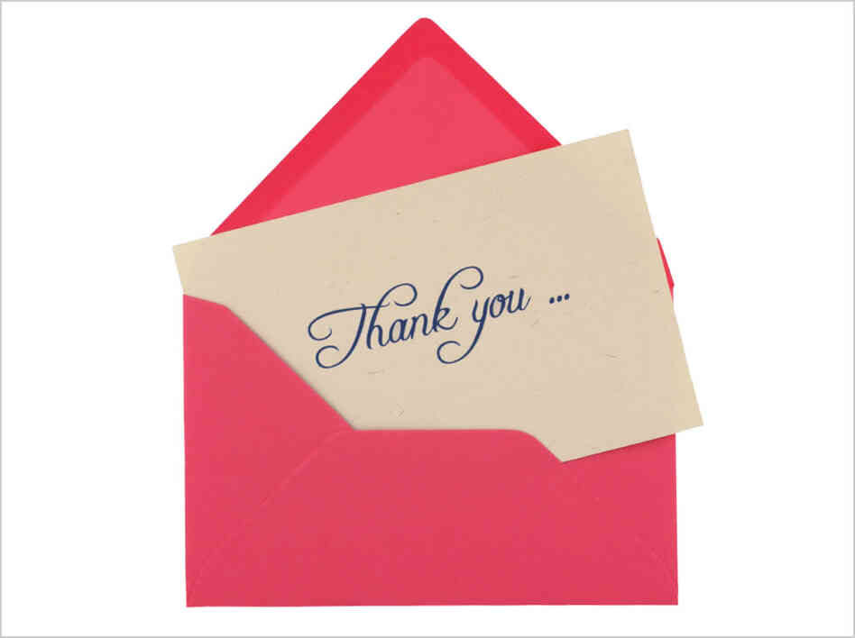 Thank you note in envelope