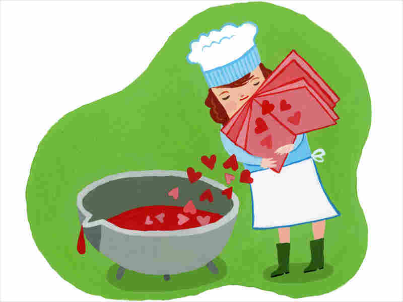 Illustration: Cook pours hearts into a pot.