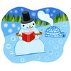 Illustration: Snowman reads a book.