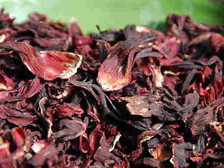 A heap of dried hibiscus, or jamaica, flowers