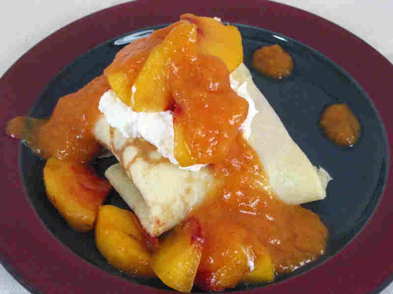 Peach Crepes With Amaretto