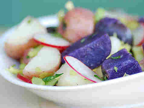 Patriotic Potato Salad features red-skinned and blue or purple potatoes.