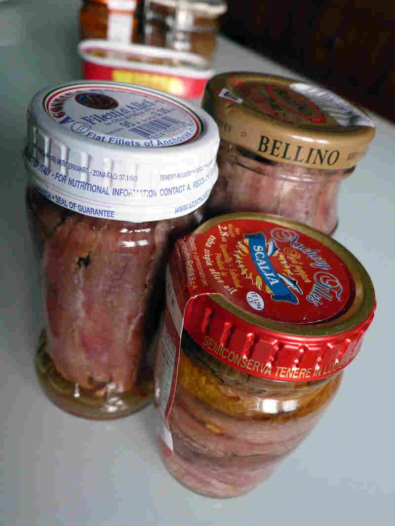 Jars of anchovies