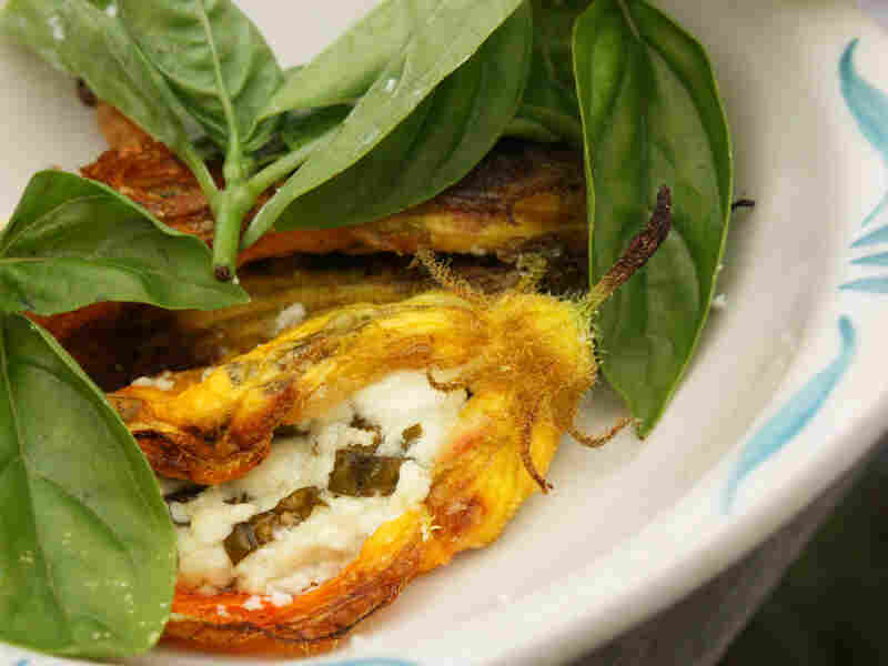 Zucchini Blossoms Stuffed With Goat Cheese And Basil