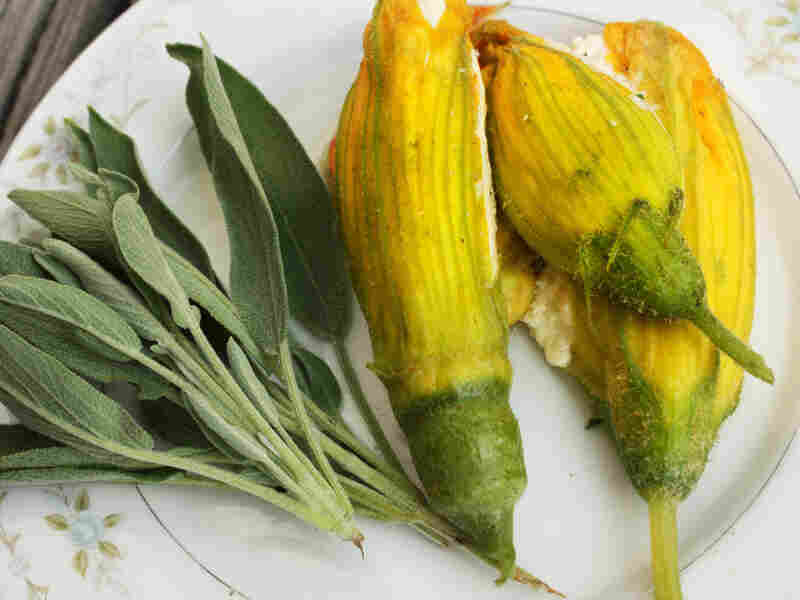 Poached Squash Blossoms With Ricotta And Sage Butter