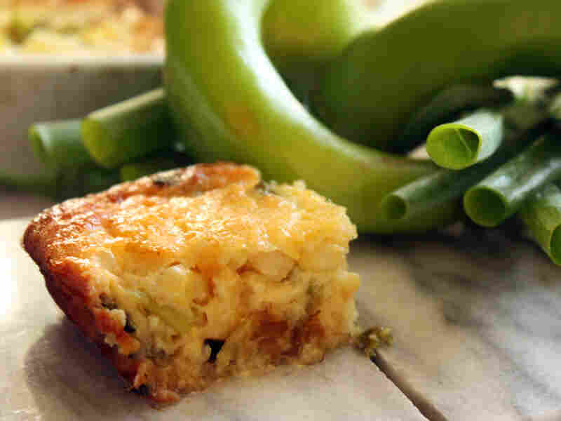 Roasted Hatch Chili Corn Pudding With Scallions