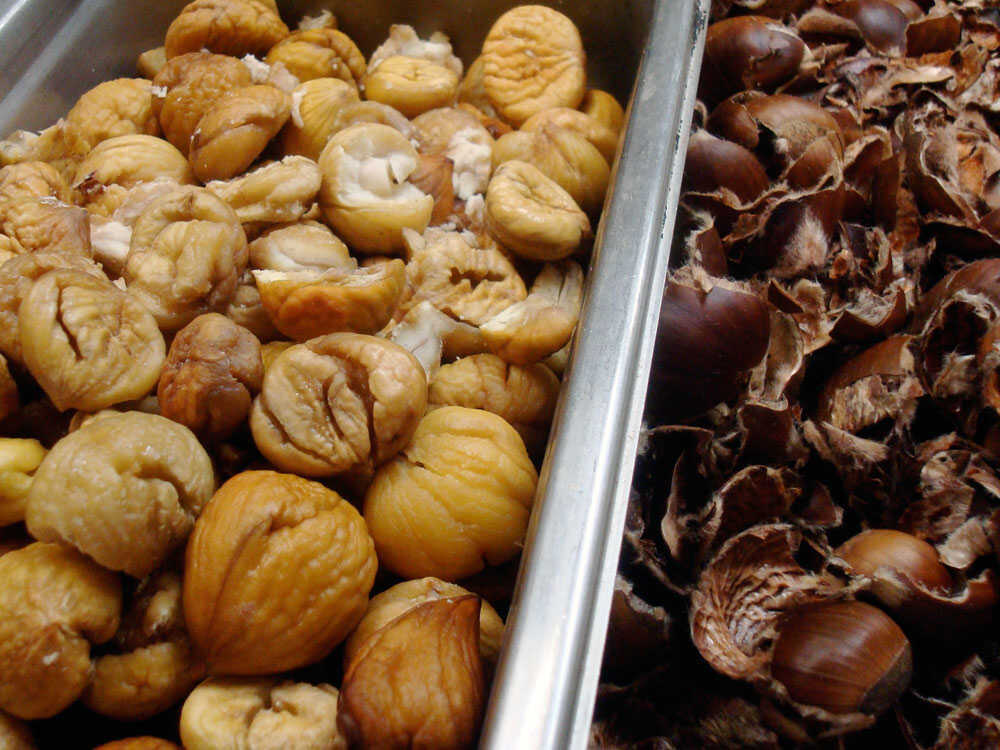 Roasted and peeled chestnuts