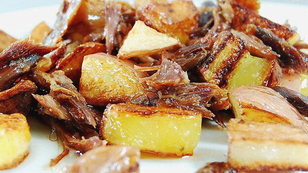 """w-Crispy """"Duck Potatoes,"""" pan fried in duck fat"""