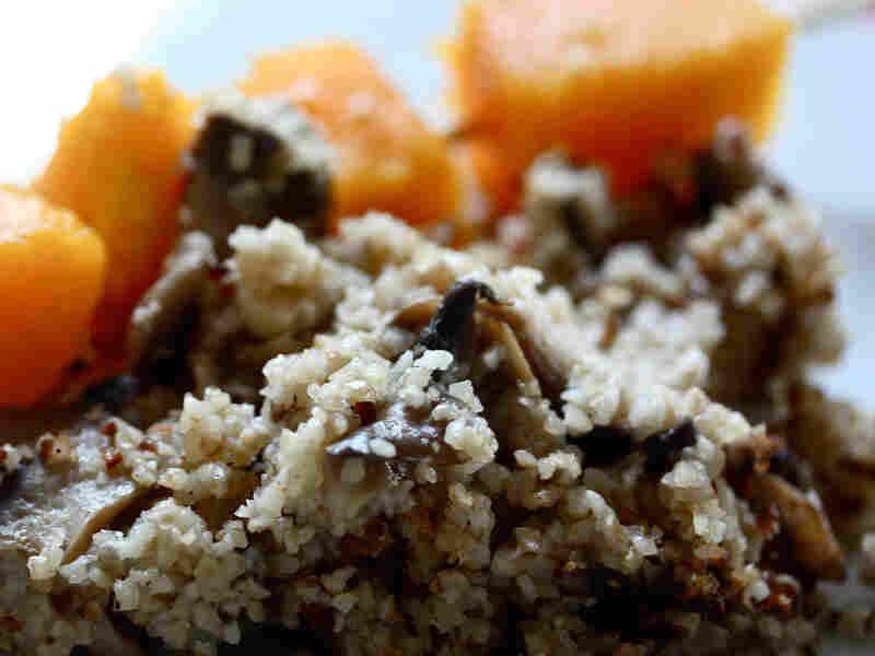 Bulgur-Mushroom Pilaf With Grilled Butternut Squash Kebab