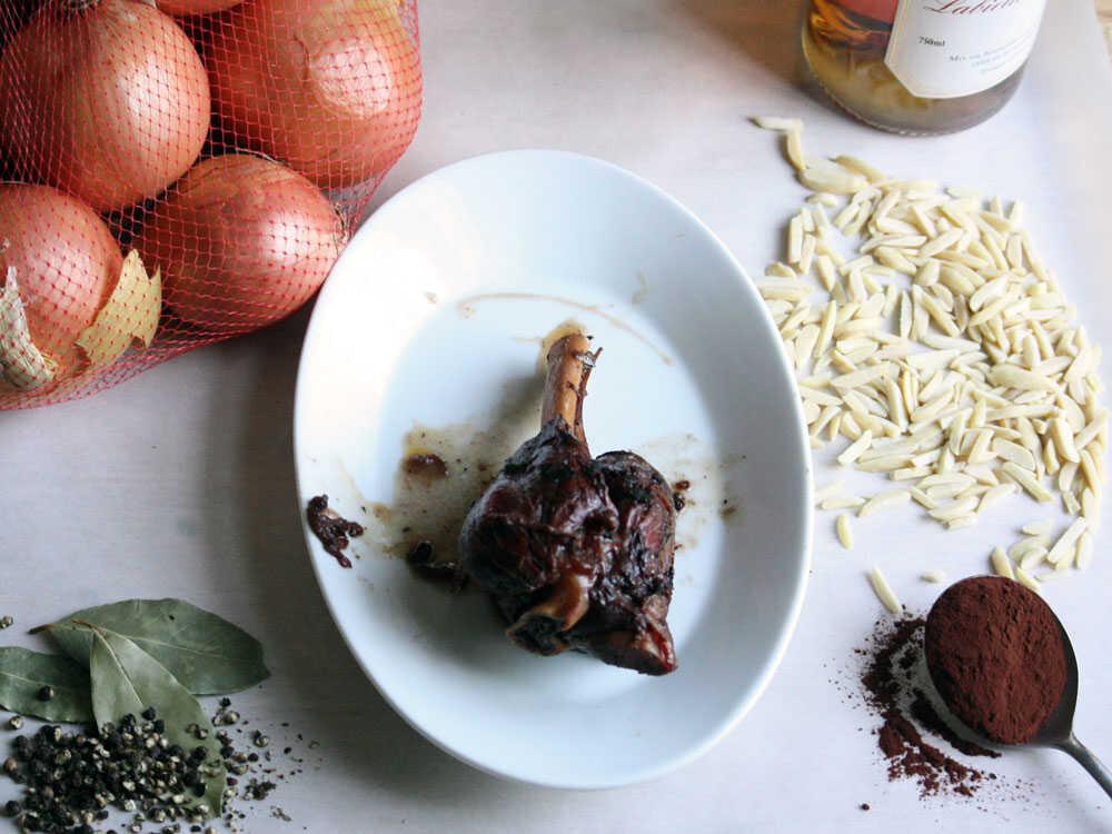 Fall-Apart Lamb Shanks with Almond-Chocolate Picada