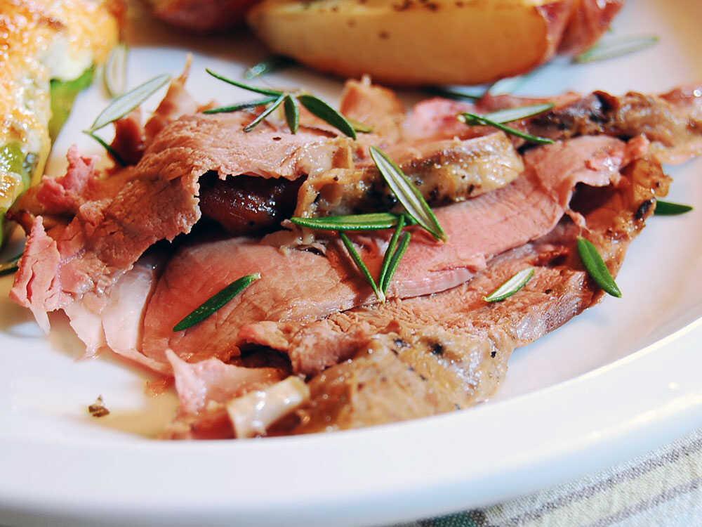 Slices of Arni Psiti (Roast Lamb)