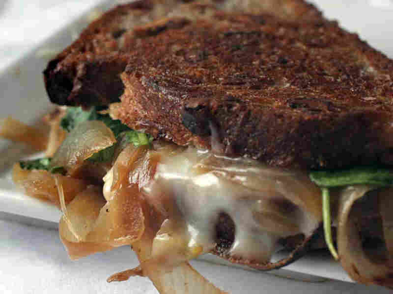 Taleggio Grilled Cheese Sandwich With Arugula And Caramelized Onions