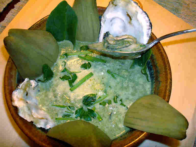 Oyster and artichoke soup, similar to an oyster and spinach bisque.