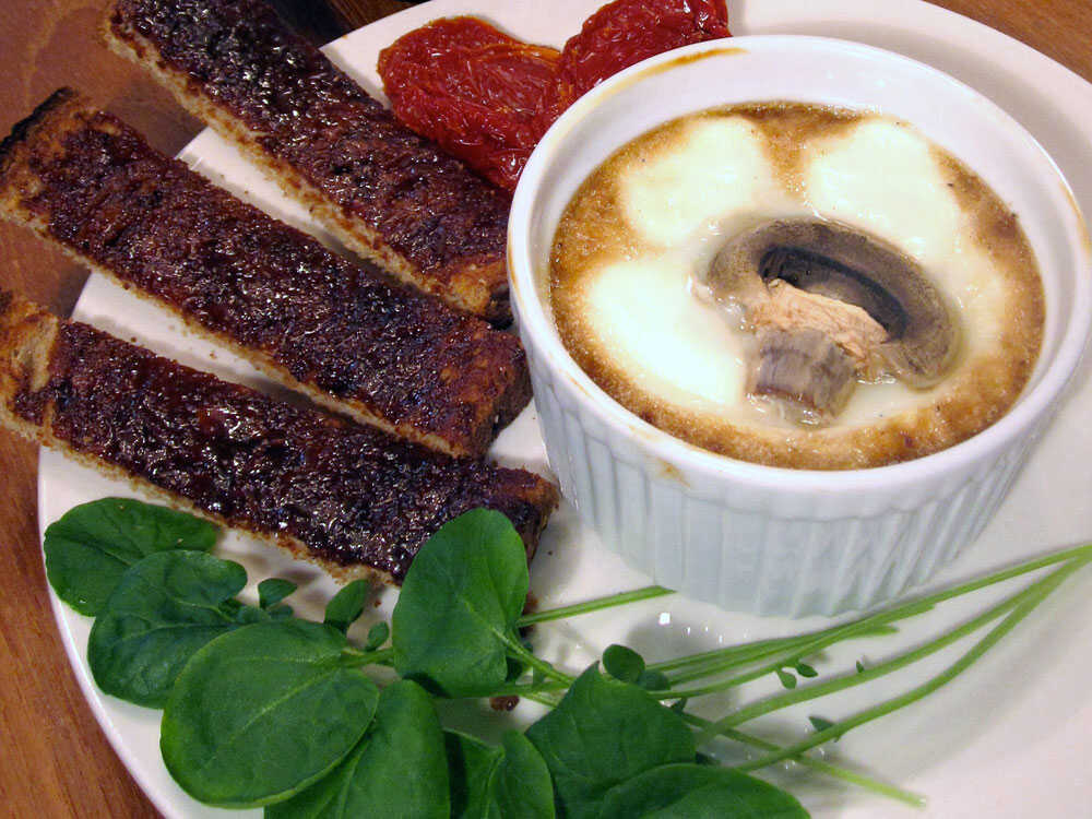 Baked Eggs With Marmite Mushrooms