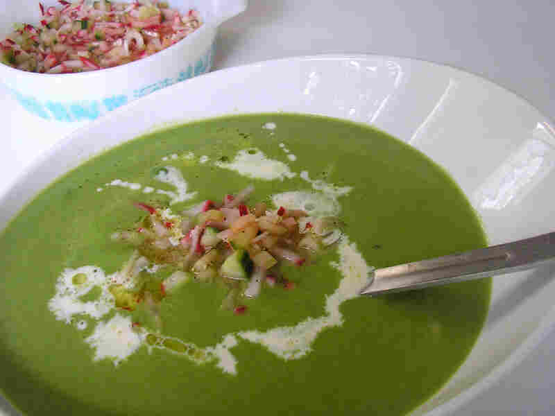 Sweet Pea Soup With Pickled Radish