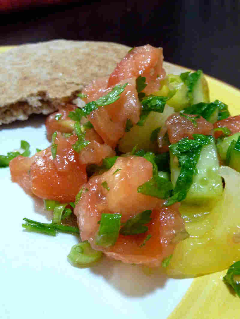 Israeli Tomato And Cucumber Salad With Pita Bread