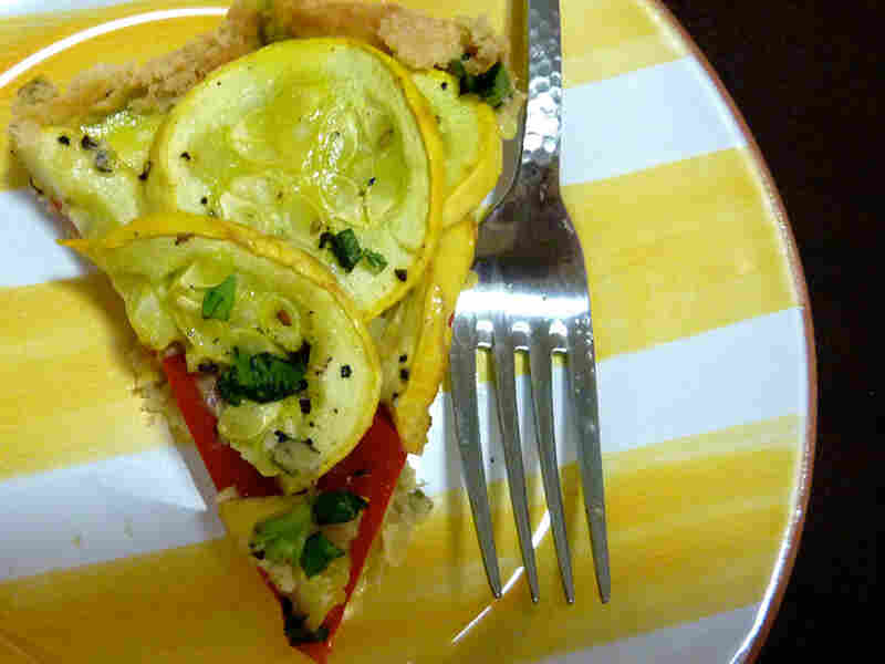 Summer Squash And Red Pepper Tarta With A Basil Crust