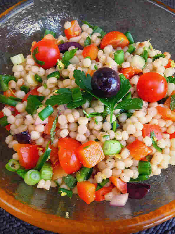Couscous Salad With Chopped Vegetables, Mint And Cilantro