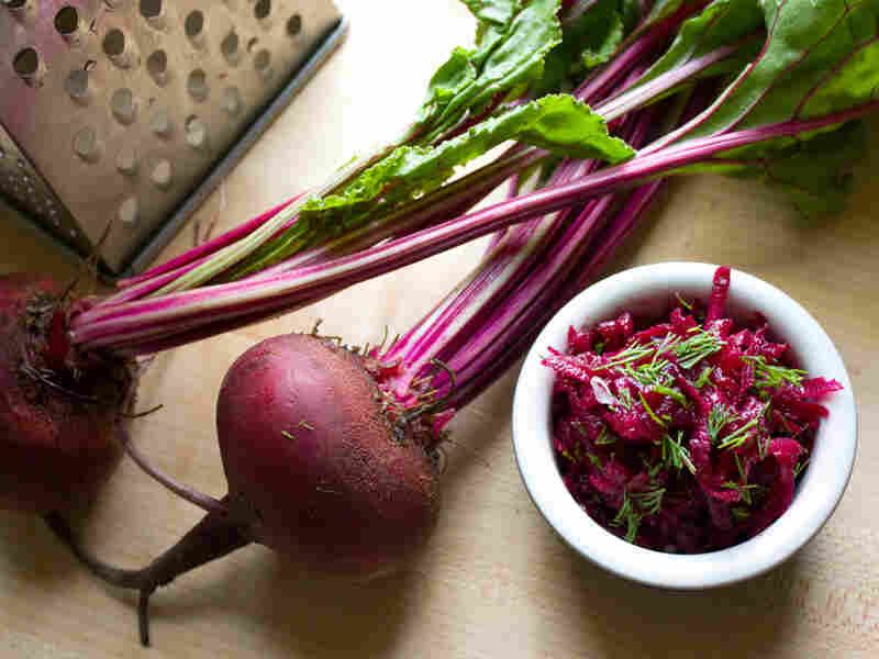 Grated Raw Beet Salad With Fresh Dill And Mustard Vinaigrette