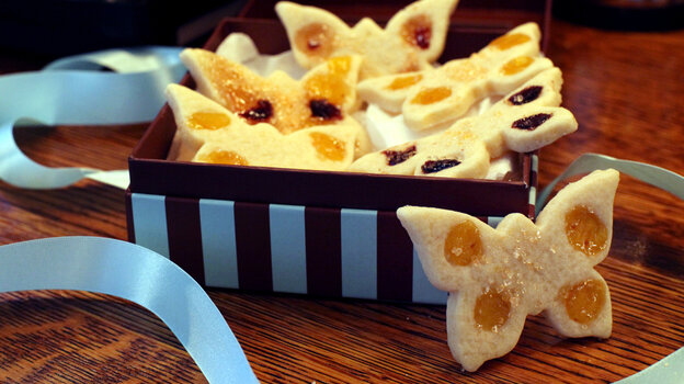 Tropical Thumbprint Cookies in the shape of butterflies