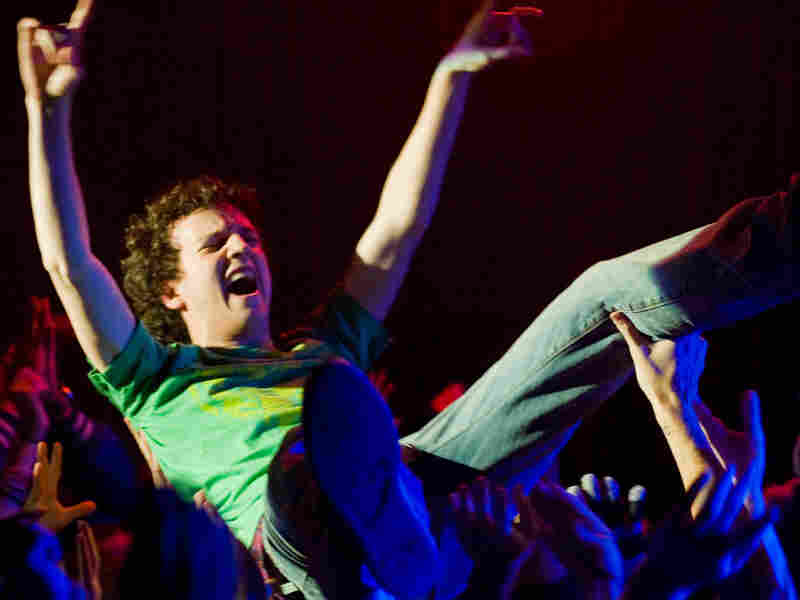 Gaelan Connell crowdsurfs in 'Bandslam.'