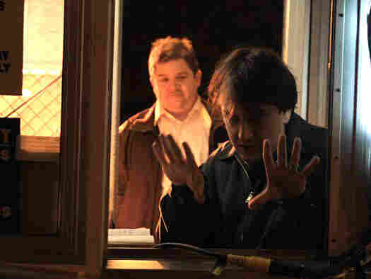 Robert Siegel and Patton Oswalt on the set of 'Big Fan'