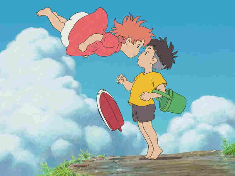 Sosuke (voiced by Frankie Jonas) and Ponyo (Noah Cyrus).