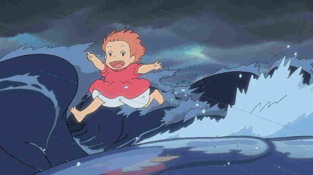 Ponyo runs on the wave-tops.