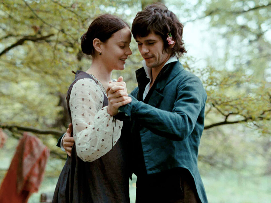 "<strong>""The holiness of the heart's affections ...""</strong> Campion describes John Keats (Ben Whishaw) and Fanny Brawne (Abby Cornish) as being ""entwined together."""