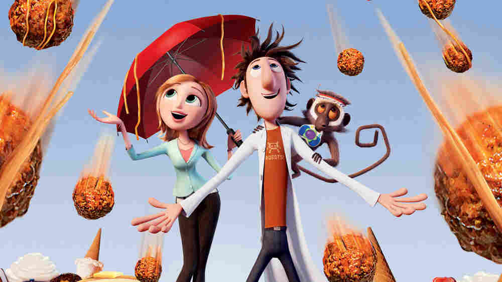 Characters from the animated 'Cloudy With A Chance Of Meatballs' experience the downpour.