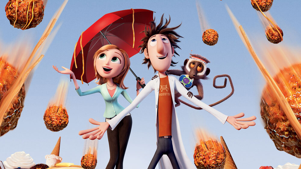 the Coronavirus Diet - Meatballs and spaghetti raining from the clouds in a scene from Cloudy with a Chance of Meatballs