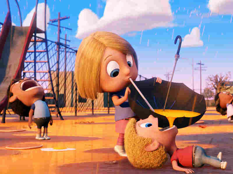 Children drink orange juice from umbrellas in 'Cloudy With a Chance of Meatballs'