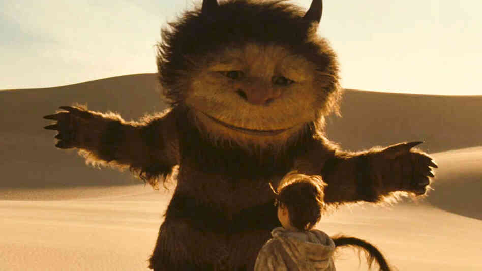 W: James Gandolfini as Carol and Max Records as Max in 'Where The Wild Things Are.'