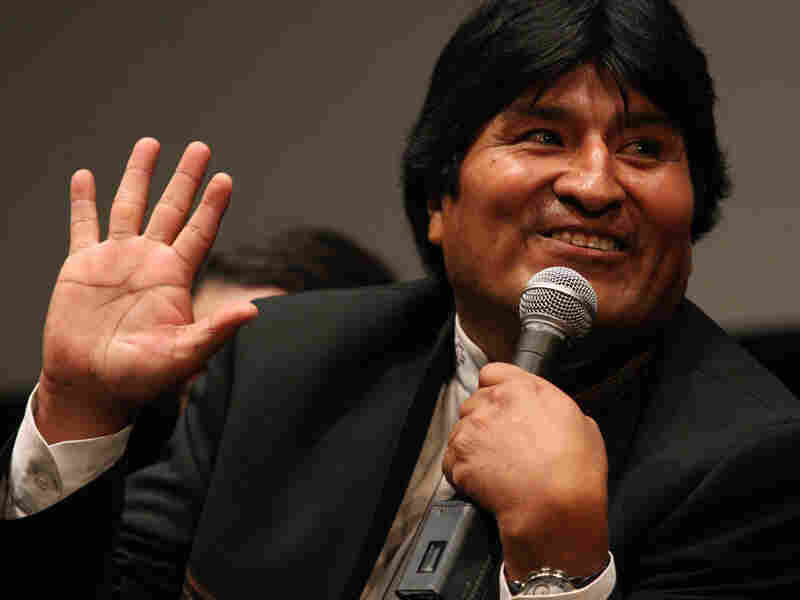 President of Bolivia Evo Morales responds to a question from the audience after a screening.