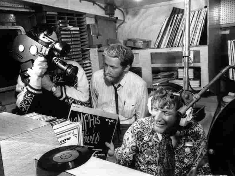Inside one of the studios aboard pirate radio station Radio Caroline with DJ Robbie Dale