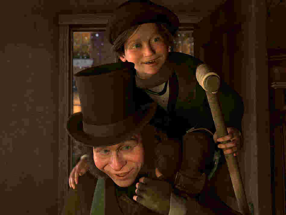 Bob Cratchit and Tiny Tim (both voiced by Gary Oldman) in 'A Christmas Carol'