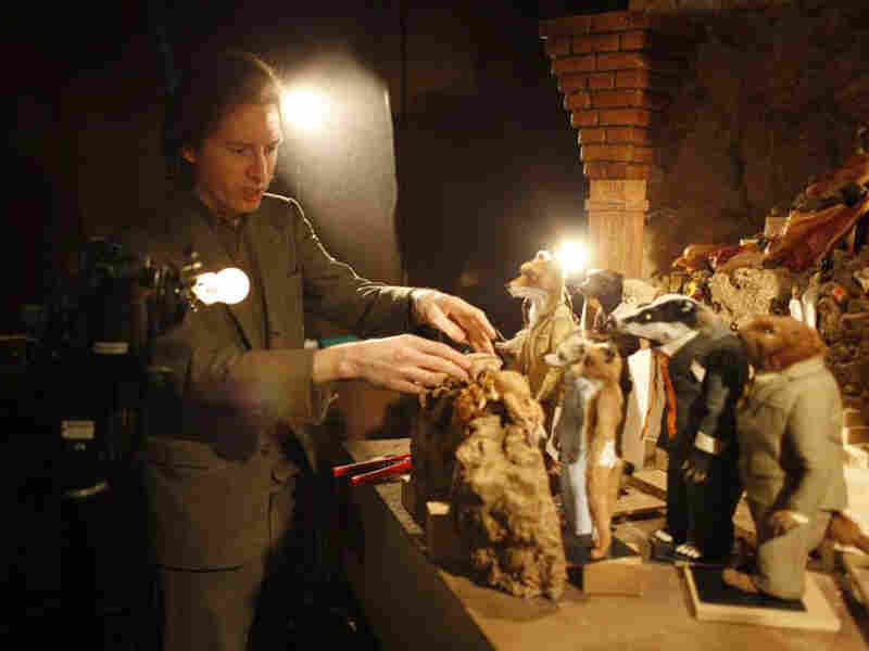 Wes Anderson on the set of 'Fantastic Mr. Fox'
