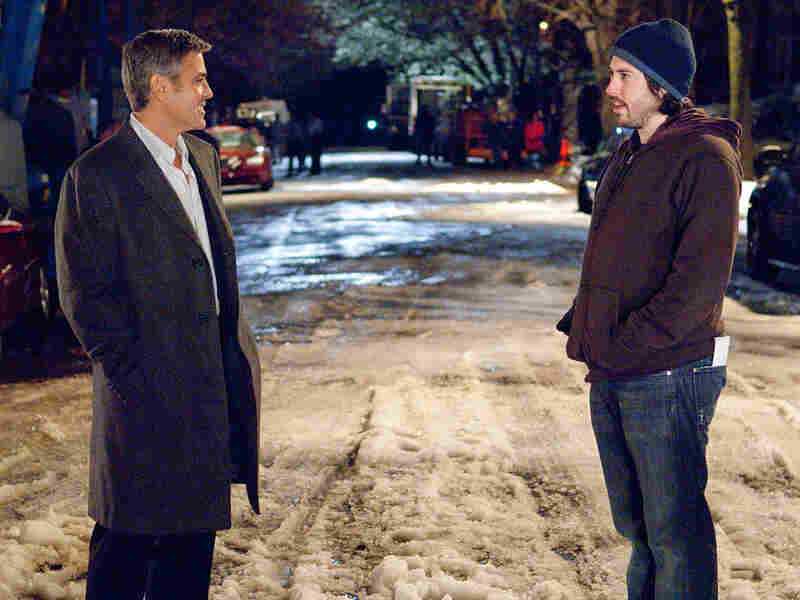 George Clooney and Jason Reitman on set of 'Up in the Air'