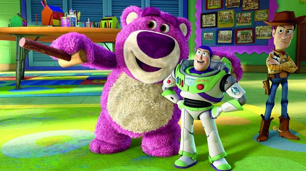 Lots-O'-Huggin' Bear, Buzz Lightyear and Woody