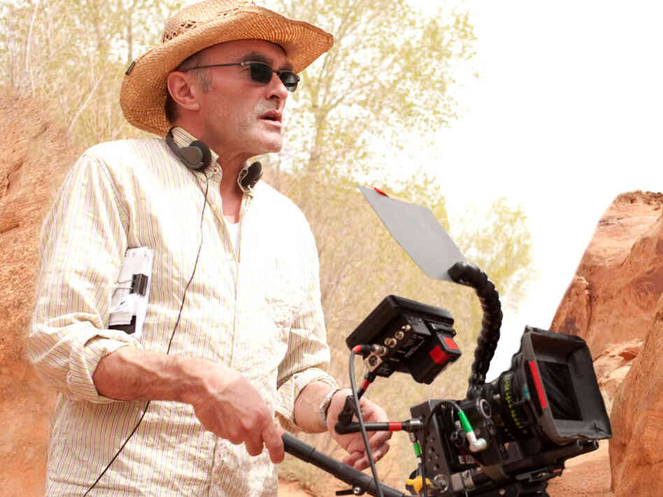 Danny Boyle on the set of '127 Hours'